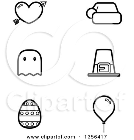 Clipart of Black and White Lineart Valentine, Christmas, Halloween ...