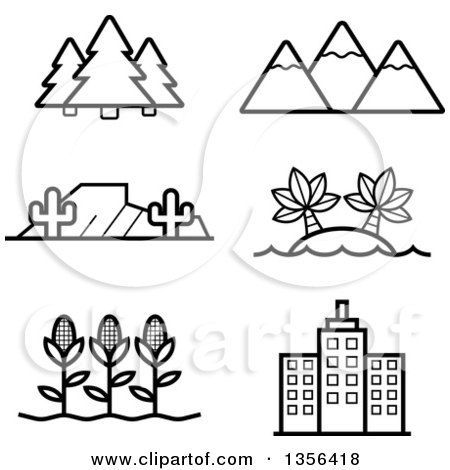 Clipart of Black and White Lineart Nature, Agriculture and Architecture Icons - Royalty Free Vector Illustration by Cory Thoman