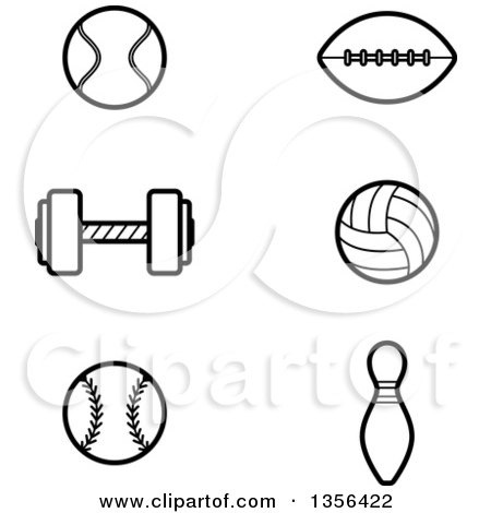 Clipart of Black and White Lineart Tennis, Football, Weightlifting, Volleyball, Baseball and Bowling Sports Icons - Royalty Free Vector Illustration by Cory Thoman