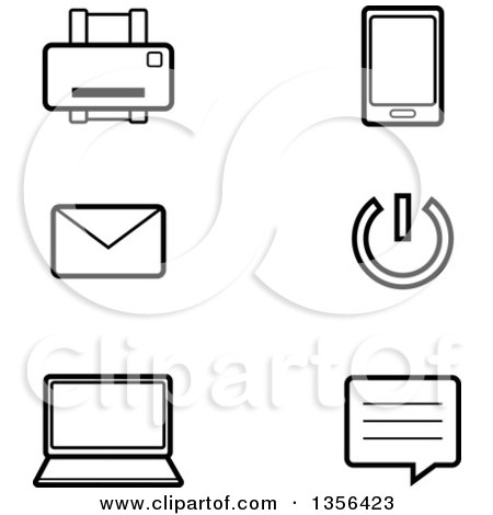 Clipart of Black and White Lineart Computer Technology Icons - Royalty Free Vector Illustration by Cory Thoman