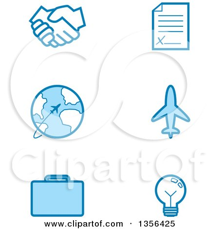 Clipart of Blue Business and Travel Icons - Royalty Free Vector Illustration by Cory Thoman