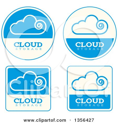 Clipart of Blue and Beige Cloud Storage Computing Icons - Royalty Free Vector Illustration by Cory Thoman