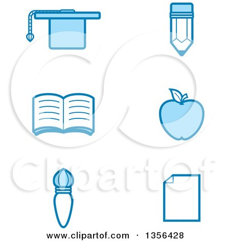Clipart of Blue Educational Icons - Royalty Free Vector Illustration by Cory Thoman