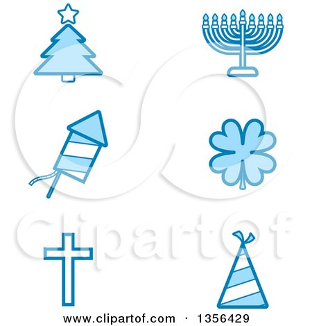 Clipart of Blue Christmas, Hanukkah, Fourth of July, St Patricks Day, Easter and New Year or Birthday Holiday Icons - Royalty Free Vector Illustration by Cory Thoman
