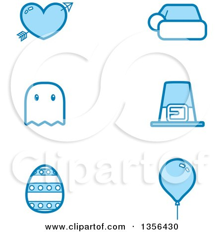 Clipart of Blue Valentine, Christmas, Halloween, Thanksgiving, Easter and Birthday Holiday Icons - Royalty Free Vector Illustration by Cory Thoman