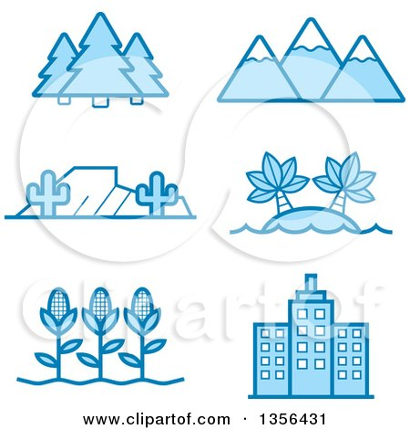 Clipart of Blue Nature, Agriculture and Architecture Icons - Royalty Free Vector Illustration by Cory Thoman