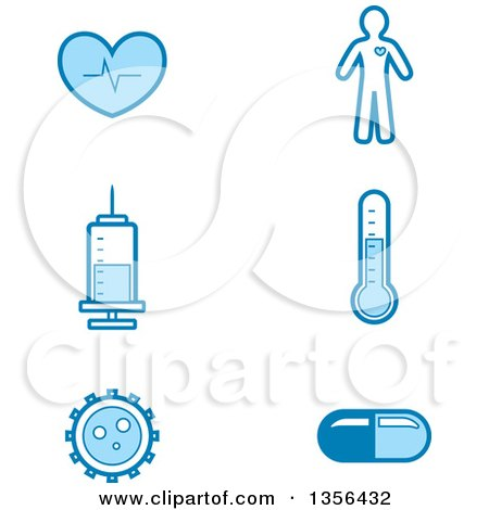 Clipart of Blue Medical Icons - Royalty Free Vector Illustration by Cory Thoman