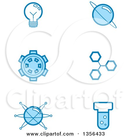 Clipart of Blue Science Icons - Royalty Free Vector Illustration by Cory Thoman