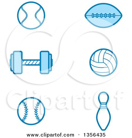 Clipart of Blue Tennis, Football, Weightlifting, Volleyball, Baseball and Bowling Sports Icons - Royalty Free Vector Illustration by Cory Thoman