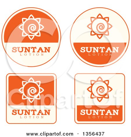 Clipart of Beige and Orange Suntan Lotion Icons - Royalty Free Vector Illustration by Cory Thoman