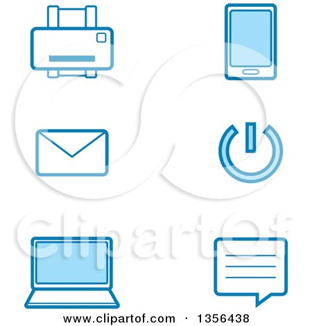 Clipart of Blue Computer Technology Icons - Royalty Free Vector Illustration by Cory Thoman