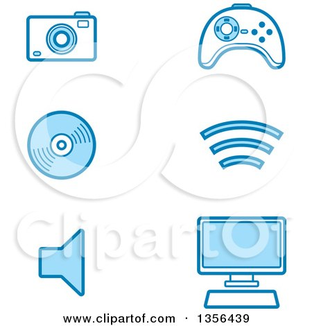 Clipart of Blue Computer and Gadget Technology Icons - Royalty Free Vector Illustration by Cory Thoman