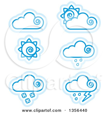 Clipart of Blue Cloud and Sun Weather Icons - Royalty Free Vector Illustration by Cory Thoman