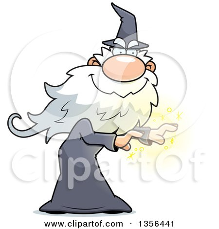 Clipart of a Carton Male Wizard Casting a Spell - Royalty Free Vector Illustration by Cory Thoman