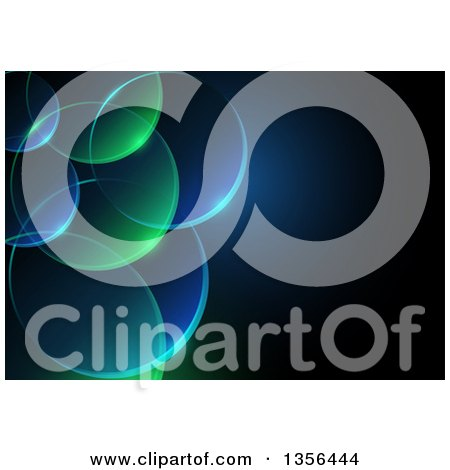 Clipart of a Background of Transparent Green and Blue Bubbles with Text Space - Royalty Free Vector Illustration by dero