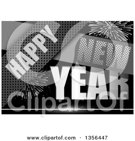 Clipart of a Grayscale Happy New Year Background with Fireworks and Metal Strips - Royalty Free Vector Illustration by dero
