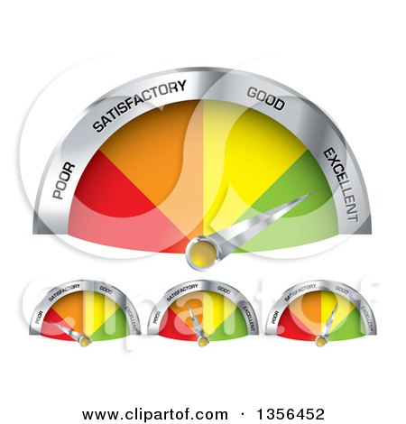 Clipart of 3d Colorful Performance Gauge Indicators Rancing from Poor to Excellent - Royalty Free Vector Illustration by michaeltravers