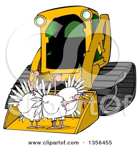 Clipart of a Yellow Bobcat Skid Steer Loader with Turkeys in the Bucket - Royalty Free Illustration by djart