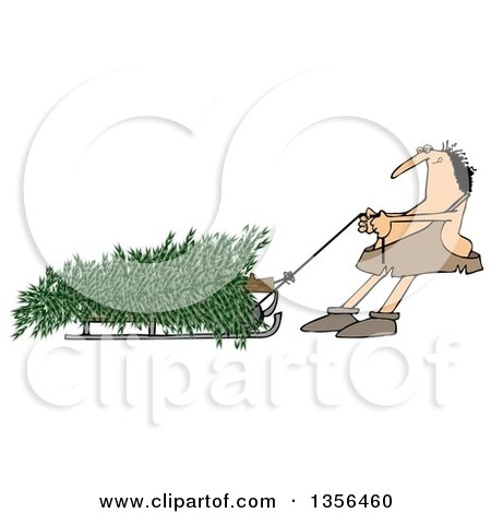 Clipart of a Cartoon Caveman Pulling a Christmas Tree on a Sled - Royalty Free Illustration by djart