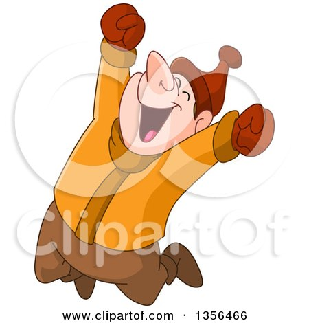 Clipart of a Cartoon Caucasian Man Jumping Happily in the Winter - Royalty Free Vector Illustration by yayayoyo