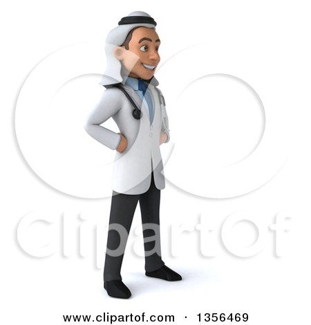 Clipart of a 3d Young Arabian Male Doctor, on a White Background - Royalty Free Illustration by Julos