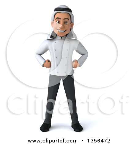 Clipart of a 3d Young Arabian Male Chef, on a White Background - Royalty Free Illustration by Julos
