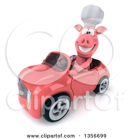 Clipart of a 3d Chef Pig Driving a Pink Convertible Car, on a White Background - Royalty Free Illustration by Julos