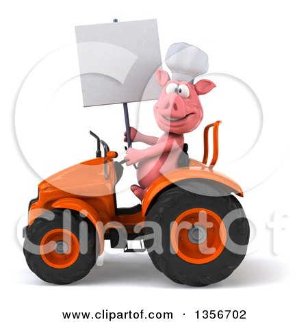 Clipart of a 3d Chef Pig Holding a Blank Sign and Operating an Orange Tractor, on a White Background - Royalty Free Illustration by Julos