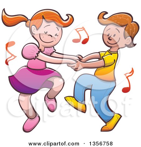 Clipart Of A Cartoon Caucasian Boy And Girl Dancing Together With Music Notes Royalty Free Vector Illustration
