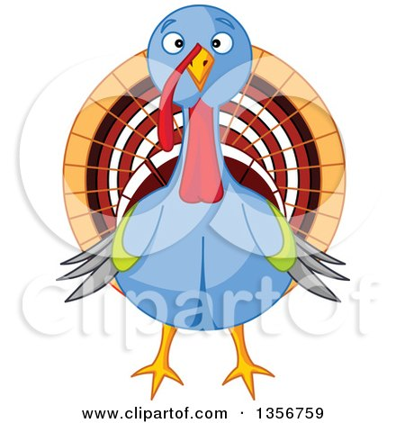 Clipart of a Cute Thanksgiving Turkey Bird - Royalty Free Vector Illustration by Pushkin