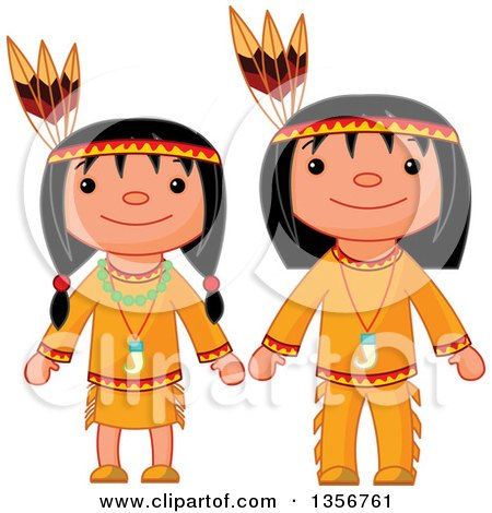 Clipart of a Thanksgiving Native American Girl and Boy - Royalty Free Vector Illustration by Pushkin