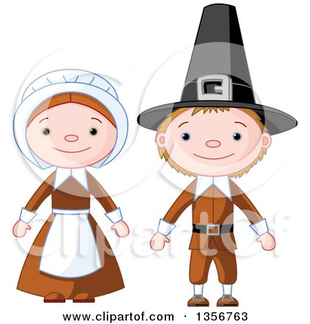 Clipart of a Happy Thanksgiving Pilgrim Boy and Girl - Royalty Free Vector Illustration by Pushkin