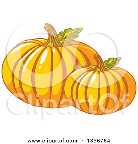 Clipart of Two Round Pumpkins with Leaves - Royalty Free Vector Illustration by Pushkin