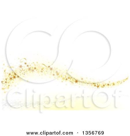 Clipart of a Wave of Gold Stars and Confetti over a White Background - Royalty Free Vector Illustration by dero