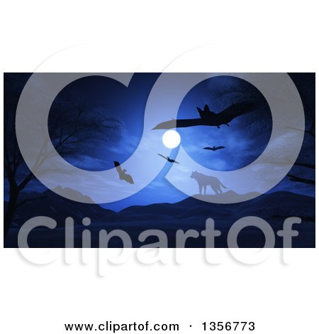 Clipart of Flying Halloween Vampire Bats over a Lone Wolf on Top of a Mountain Against a Full Moon - Royalty Free Illustration by KJ Pargeter