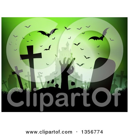 Clipart of a Silhouetted Zombie Hand Rising from the Grave Against a Haunted Castle and Bats on Green - Royalty Free Vector Illustration by KJ Pargeter