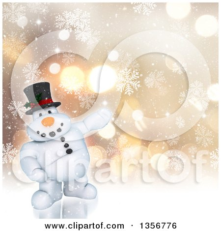 Clipart of a 3d Chubby Snowman Presenting over a Bokeh Background with Snowflakes - Royalty Free Illustration by KJ Pargeter