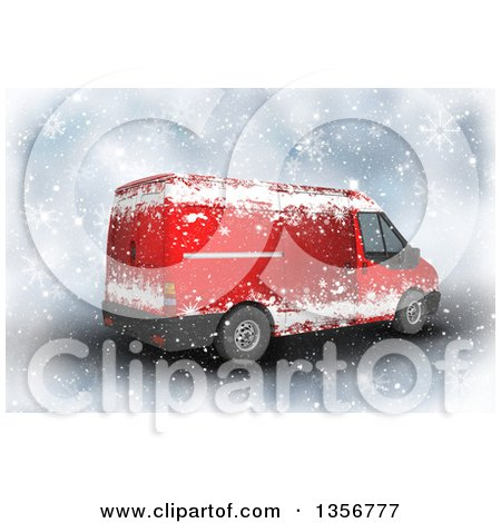 Clipart of a 3d Red Christmas Delivery Van in the Snow - Royalty Free Illustration by KJ Pargeter