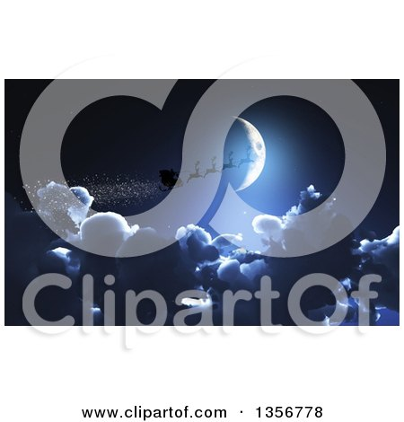 Clipart Of Silhouetted Christmas Santas Sleigh And Reindeer Flying Over A Crescent Moon And Clouds Royalty Free Illustration