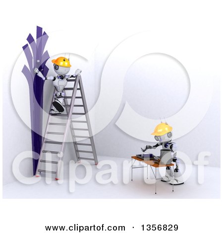 Clipart of 3d Futuristic Robots Painting an Interior, on a Shaded White Background - Royalty Free Illustration by KJ Pargeter