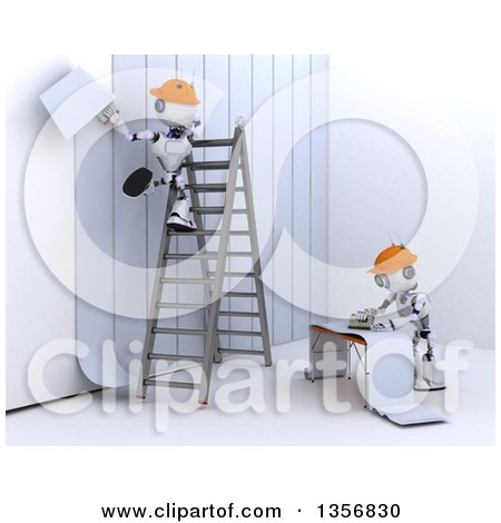 Clipart of 3d Futuristic Robot Workers Installing Wallpaper, on a Shaded White Background - Royalty Free Illustration by KJ Pargeter
