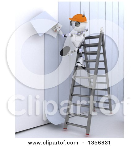 Clipart of a 3d Futuristic Robot Worker Installing Wallpaper, on a Shaded White Background - Royalty Free Illustration by KJ Pargeter