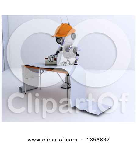 Clipart of a 3d Futuristic Robot Preparing Wallpaper, on a Shaded White Background - Royalty Free Illustration by KJ Pargeter