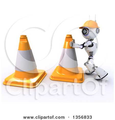 Clipart of a 3d Futuristic Robot Construction Worker Moving Giant Cones, on a Shaded White Background - Royalty Free Illustration by KJ Pargeter