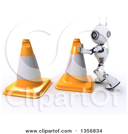 Clipart of a 3d Futuristic Robot Moving Giant Cones, on a Shaded White Background - Royalty Free Illustration by KJ Pargeter
