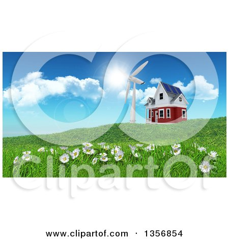 Clipart of a 3d Rural House with a Windmill on a Green Hill with Daisies - Royalty Free Illustration by KJ Pargeter