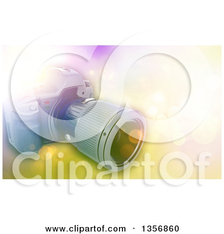 Clipart of a 3d Digital Camera over a Bokeh Flare Background - Royalty Free Illustration by KJ Pargeter
