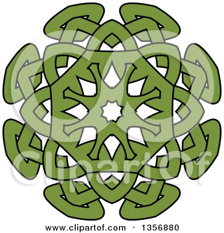 Clipart of a Black and Green Celtic Knot Design Element - Royalty Free Vector Illustration by Vector Tradition SM