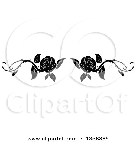 Clipart of a Black and White Floral Rose Vine Border Design Element - Royalty Free Vector Illustration by Vector Tradition SM