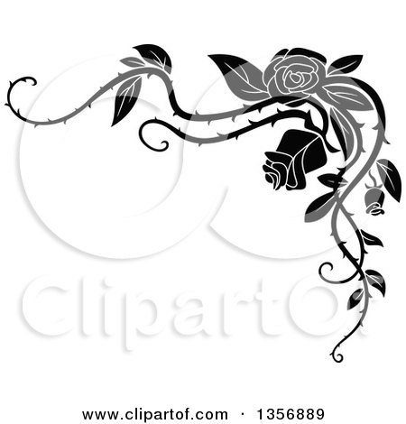 Clipart of a Black and White Corner Floral Rose Vine Border Design Element - Royalty Free Vector Illustration by Vector Tradition SM